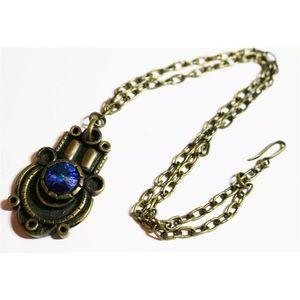 Egyptian Revival Bronze Tone Pendant Necklace